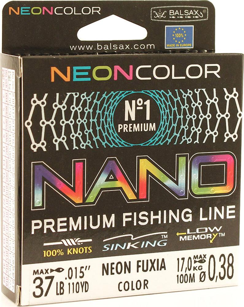 Леска Balsax Nano Neon Fuxia, 100 м, 0,38 мм, 17,0 кг леска balsax tarantula gold 100 м 0 32 мм 13 0 кг
