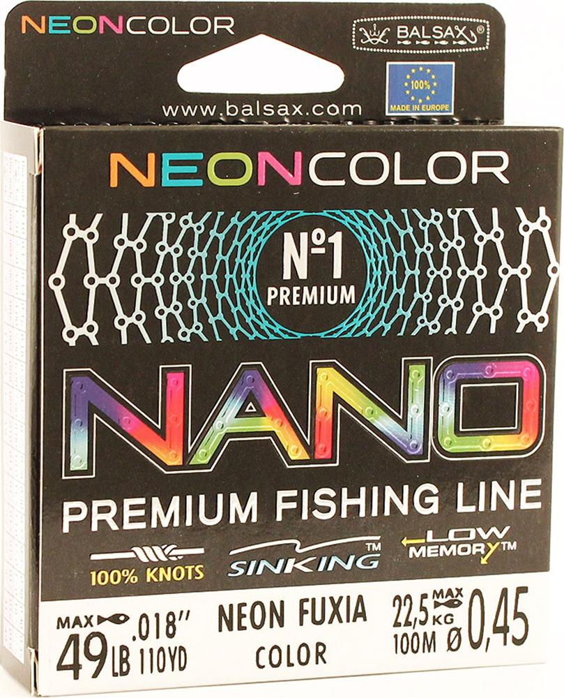 Леска Balsax Nano Neon Fuxia, 100 м, 0,45 мм, 22,5 кг