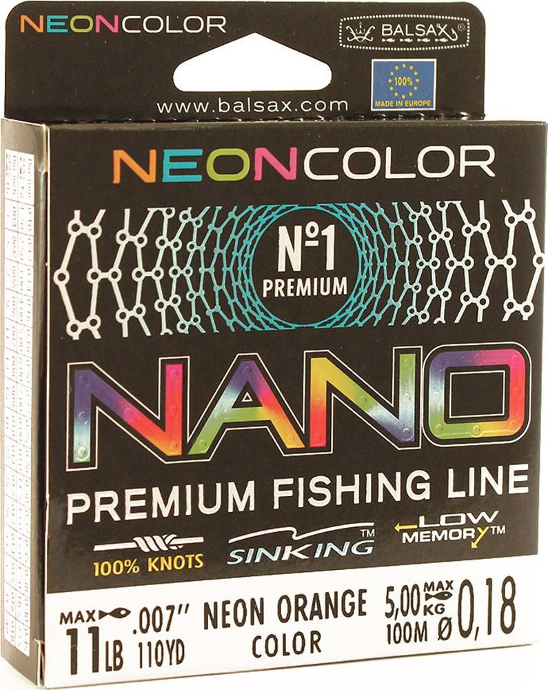 Леска Balsax Nano Neon Orange, 100 м, 0,18 мм, 5,0 кг