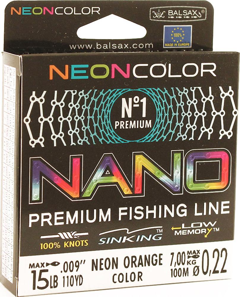 Леска Balsax Nano Neon Orange, 100 м, 0,22 мм, 7,0 кг