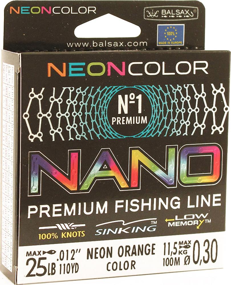 Леска Balsax Nano Neon Orange, 100 м, 0,30 мм, 11,5 кг