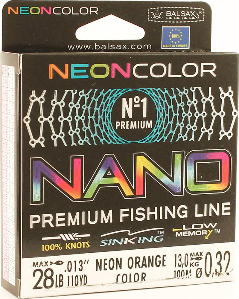 Леска Balsax Nano Neon Orange, 100 м, 0,32 мм, 13,0 кг леска balsax tarantula gold 100 м 0 32 мм 13 0 кг