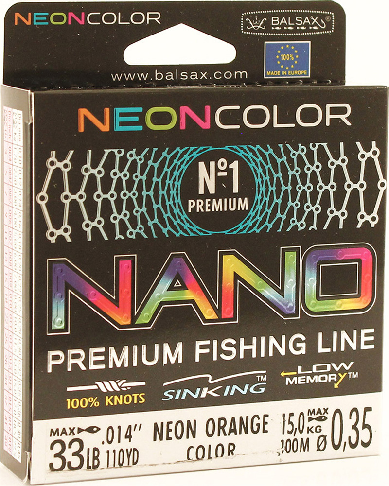 Леска Balsax Nano Neon Orange, 100 м, 0,35 мм, 15,0 кг