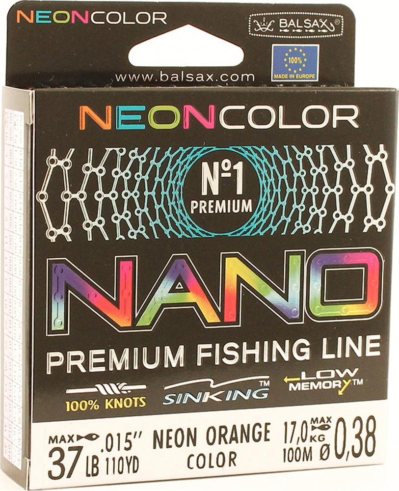 Леска Balsax Nano Neon Orange, 100 м, 0,38 мм, 17,0 кг леска balsax tarantula gold 100 м 0 32 мм 13 0 кг