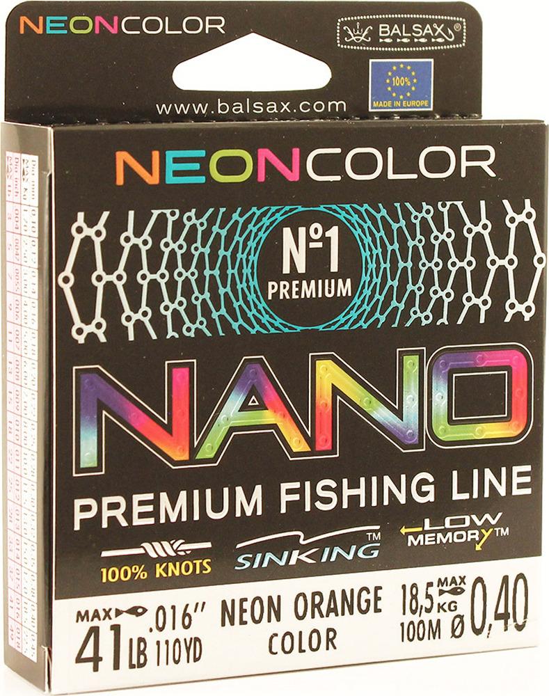 Леска Balsax Nano Neon Orange, 100 м, 0,40 мм, 18,5 кг