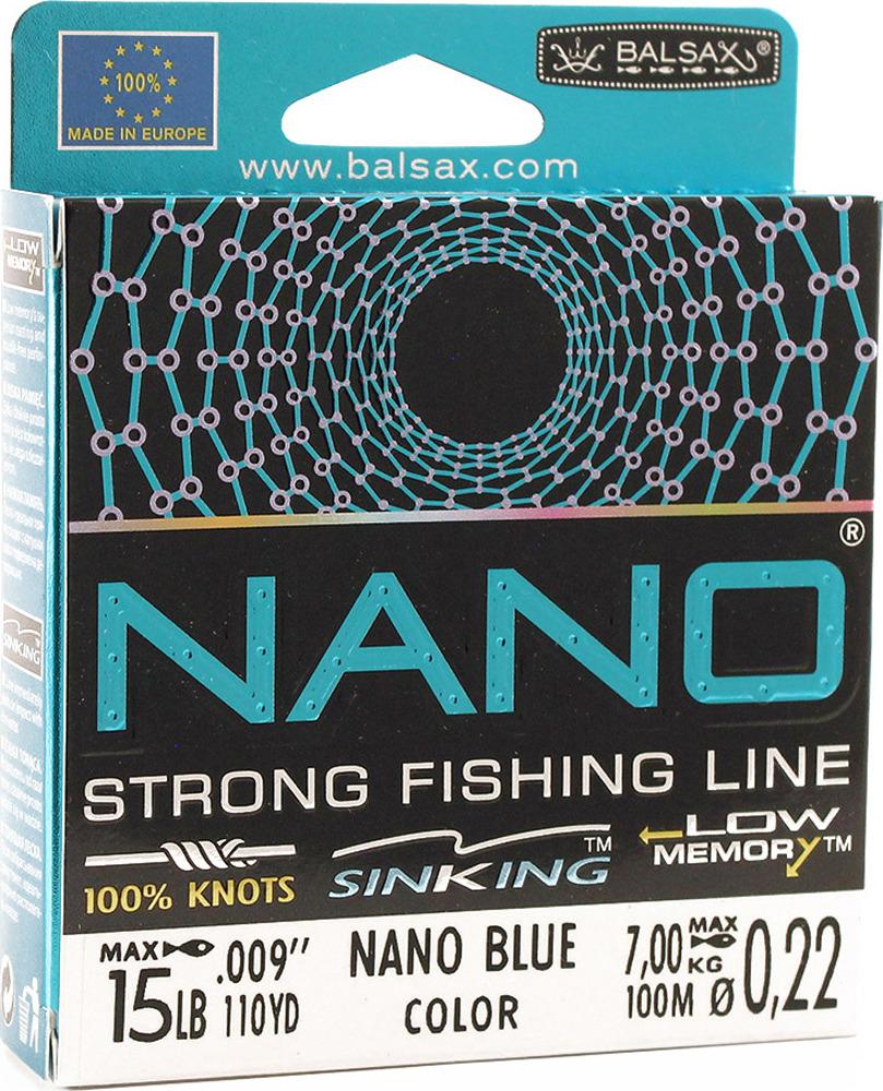 Леска Balsax Nano Blue, 100 м, 0,22 мм, 7,0 кг
