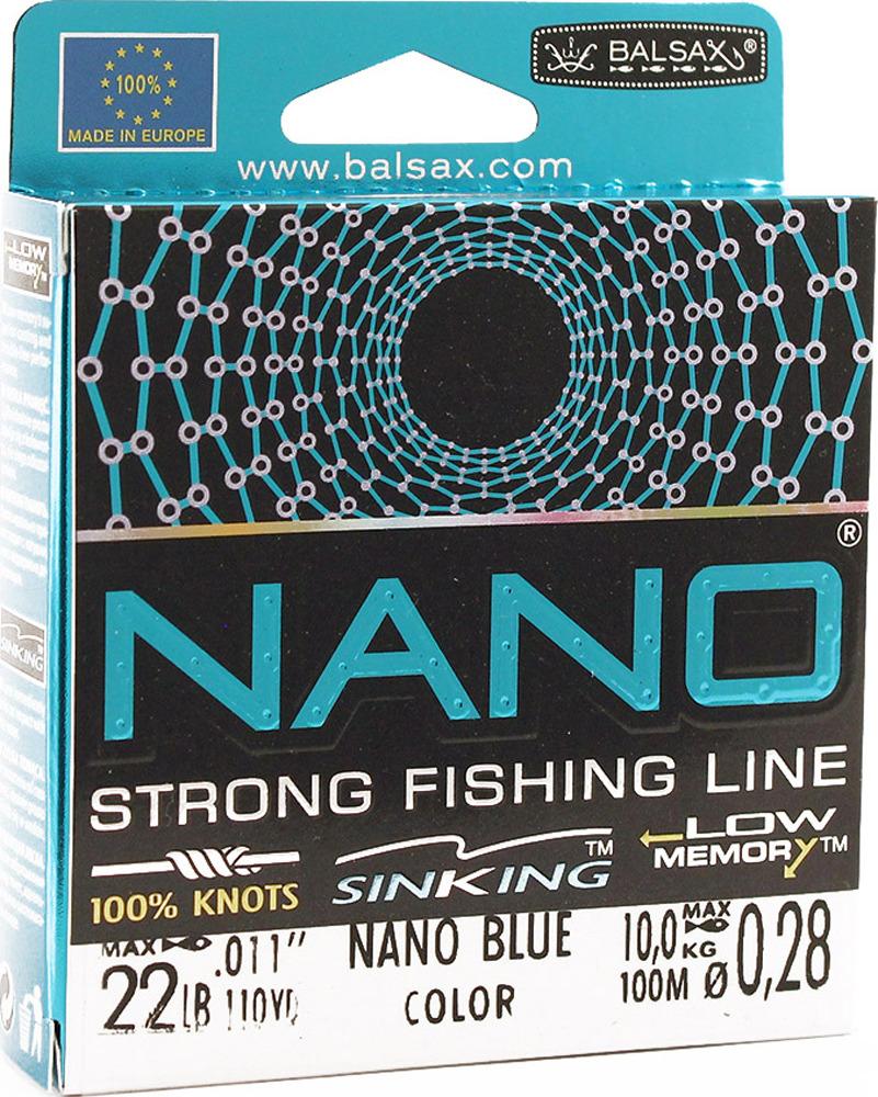 Леска Balsax Nano Blue, 100 м, 0,28 мм, 10,0 кг