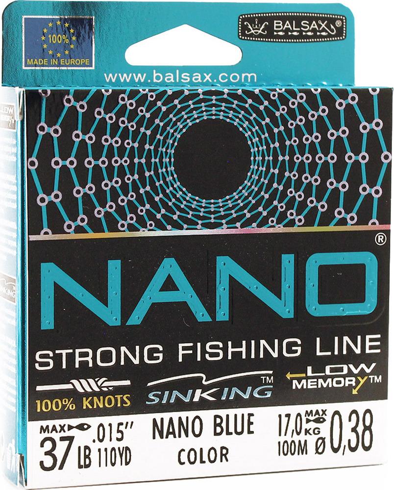 Леска Balsax Nano Blue, 100 м, 0,38 мм, 17,0 кг