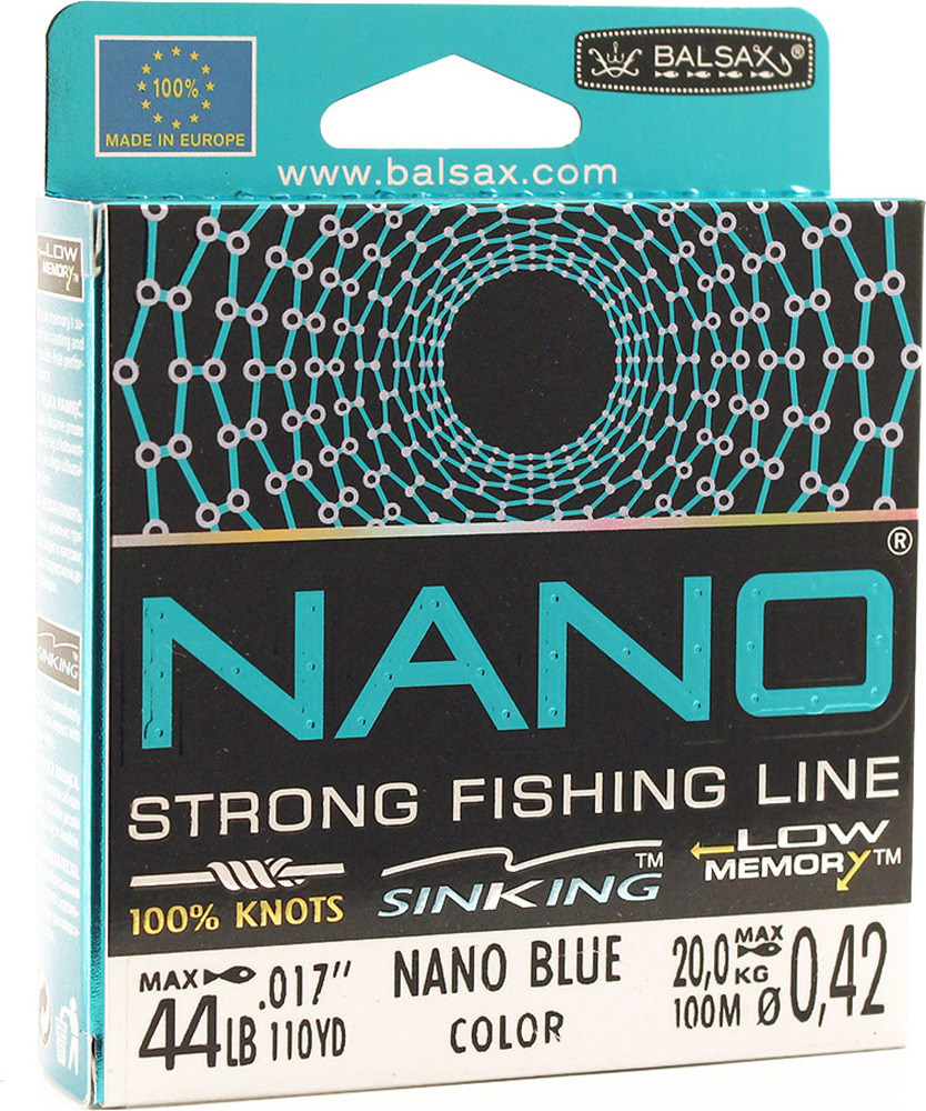 Леска Balsax Nano Blue, 100 м, 0,42 мм, 20,0 кг