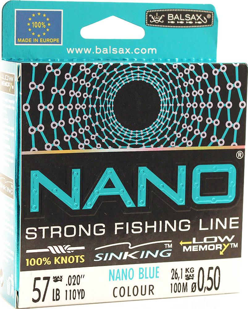 Леска Balsax Nano Blue, 100 м, 0,50 мм, 26,1 кг