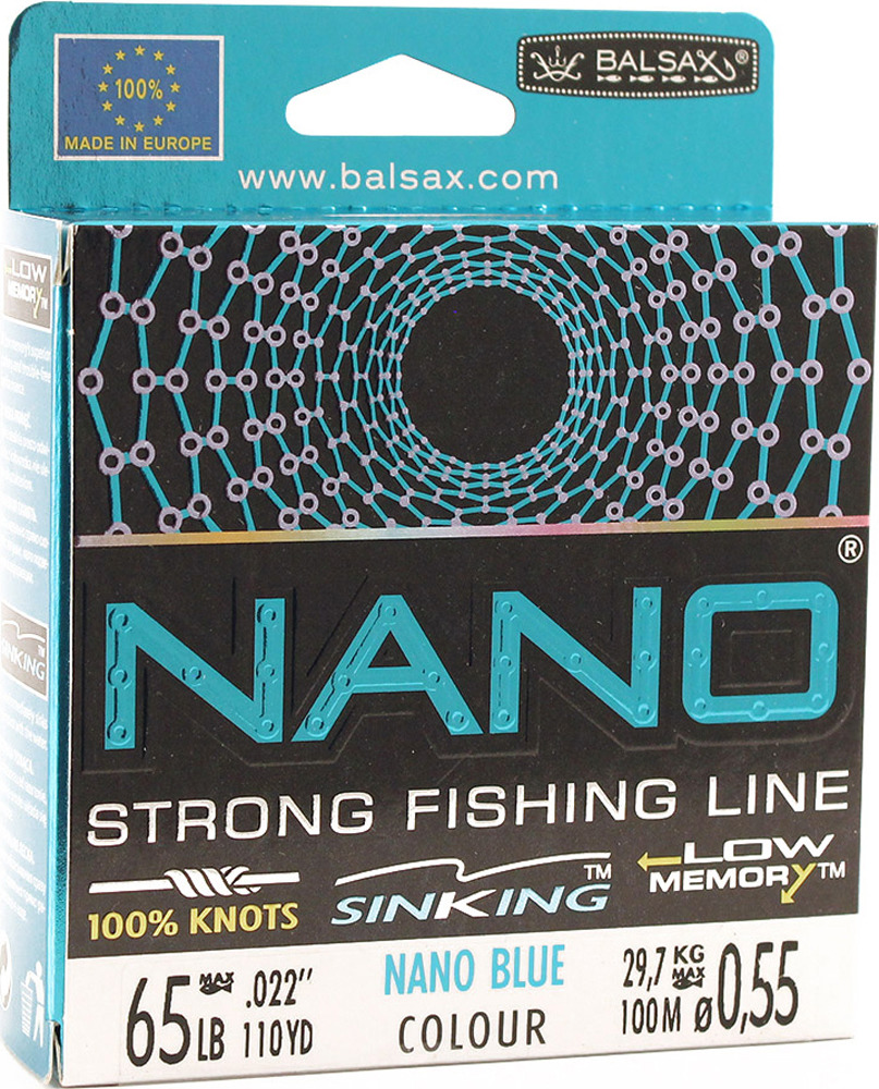 Леска Balsax Nano Blue, 100 м, 0,55 мм, 29,7 кг
