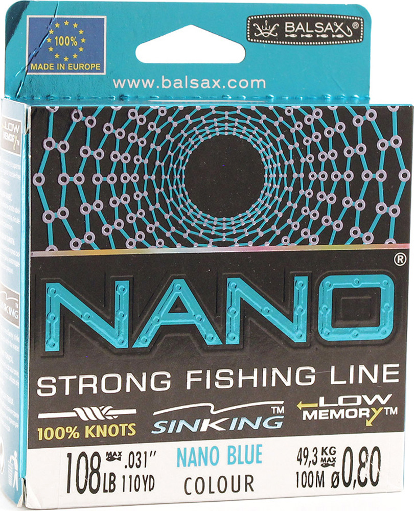 Леска Balsax Nano Blue, 100 м, 0,80 мм, 49,3 кг