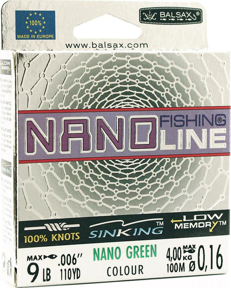 Леска Balsax Nano Fishing Green, 100 м, 0,16 мм, 4,0 кг68468Леска предназначена в первую очередь для спиннинговой ловли. Благодаря использованию неоценимых свойств наночастиц, она обладает всеми существенными свойствами, необходимыми для этого метода ловли. Гладкая и ровная текстура ограничивает сопротивление трения лески, легко сходит со шпули катушки и позволяет осуществлять дальние забросы приманки. Леска обладает также высокой прочностью на разрыв в зоне узла, а также низкой памятью и отсутствием тенденции к скручиванию и перегибам. Ограниченная растяжимость позволяет идеально чувствовать движение и контроль приманки, а также обеспечивает амортизацию резких рывков рыбы. Темно-зеленый цвет маскирует леску в подводной среде илистого дня.