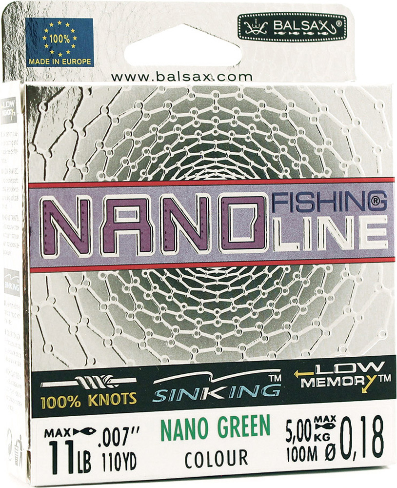 Леска Balsax Nano Fishing Green, 100 м, 0,18 мм, 5,0 кг
