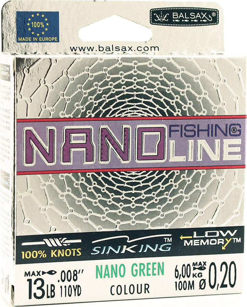 Леска Balsax Nano Fishing Green, 100 м, 0,20 мм, 6,0 кг