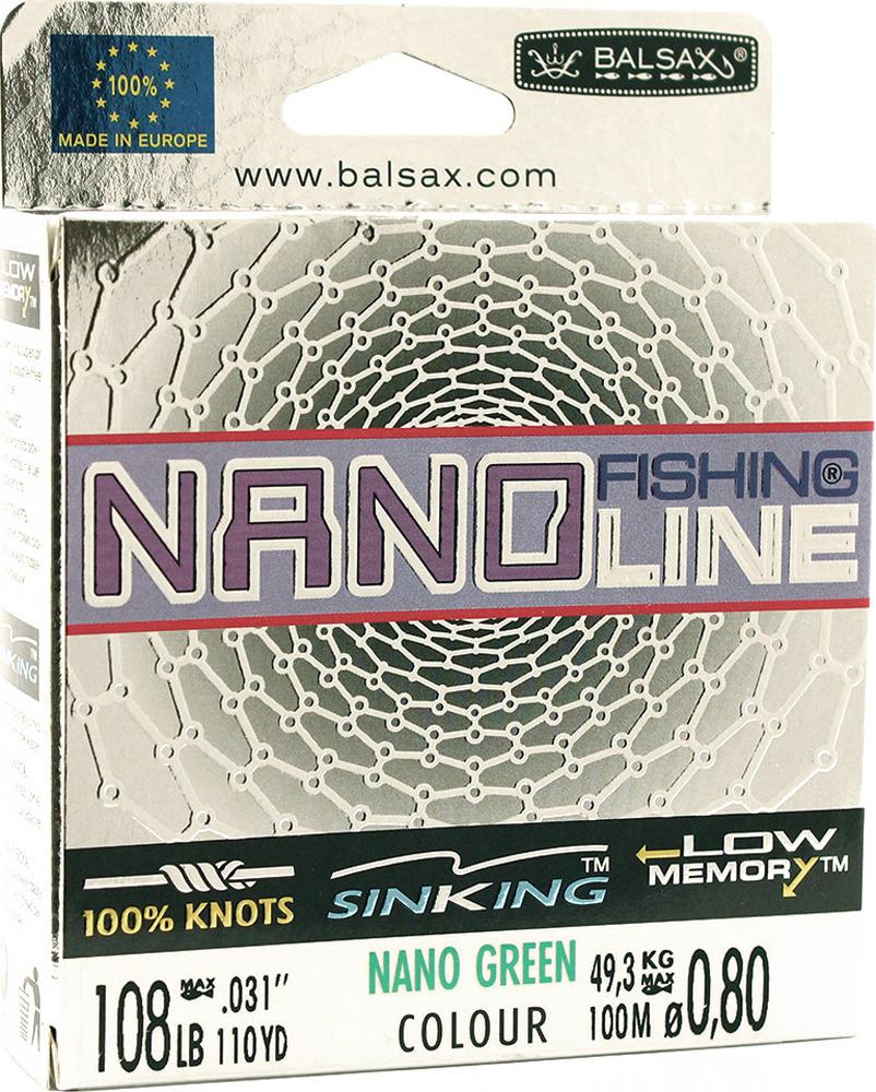Леска Balsax Nano Fishing Green, 100 м, 0,80 мм, 49,3 кг