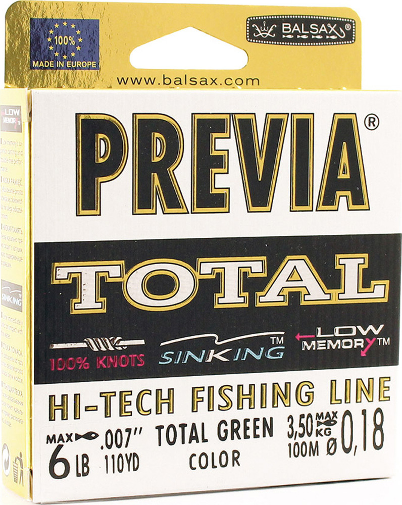 Леска Balsax Previa Total, 100 м, 0,18 мм, 3,5 кг