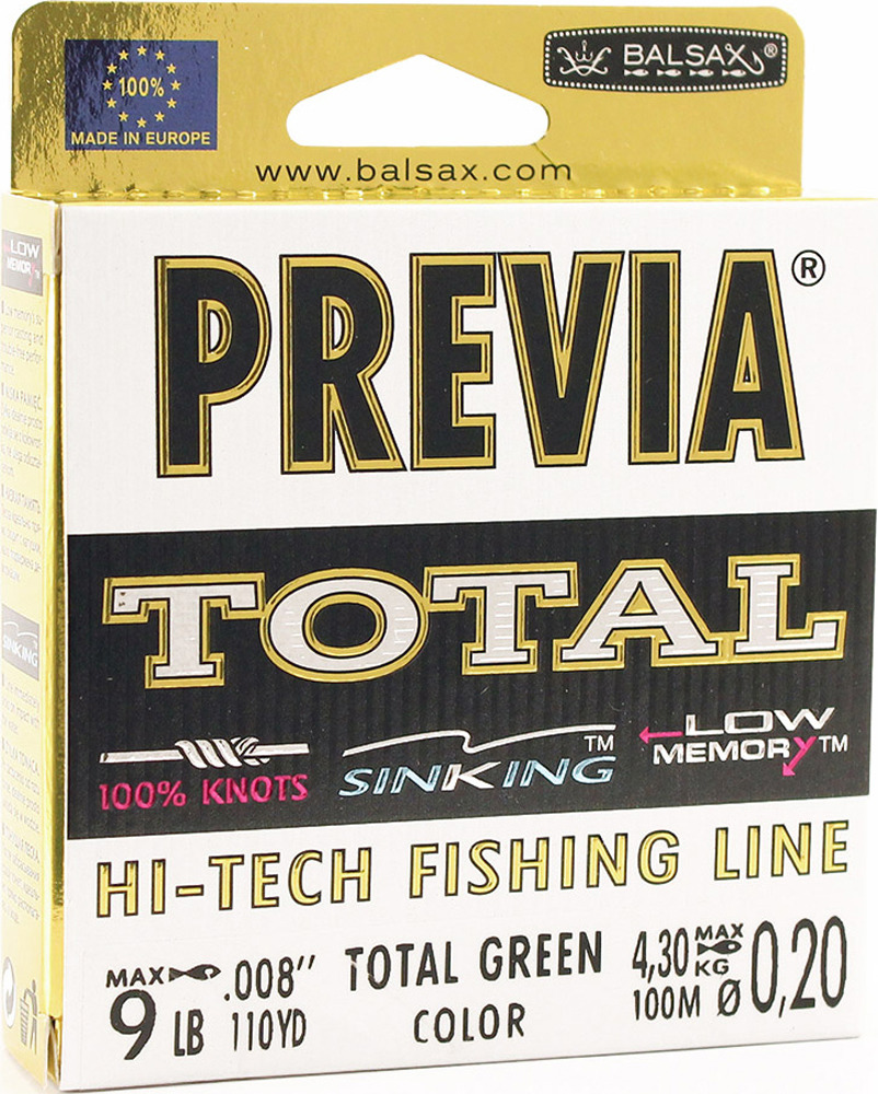 Леска Balsax Previa Total, 100 м, 0,20 мм, 4,3 кг