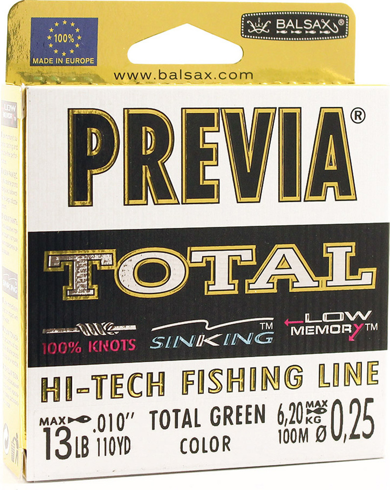 Леска Balsax Previa Total, 100 м, 0,25 мм, 6,2 кг