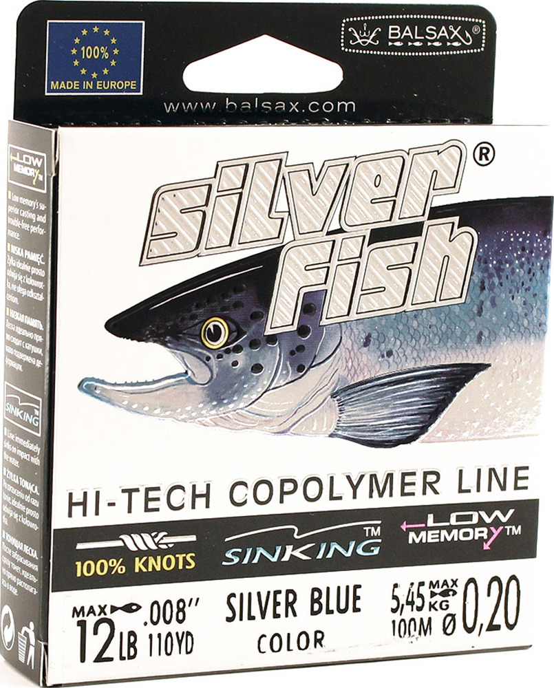 Леска Balsax Silver Fish, 100 м, 0,20 мм, 5,45 кг