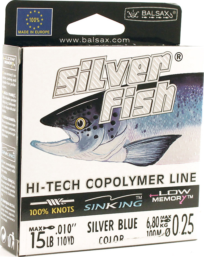 Леска Balsax Silver Fish, 100 м, 0,25 мм, 6,8 кг