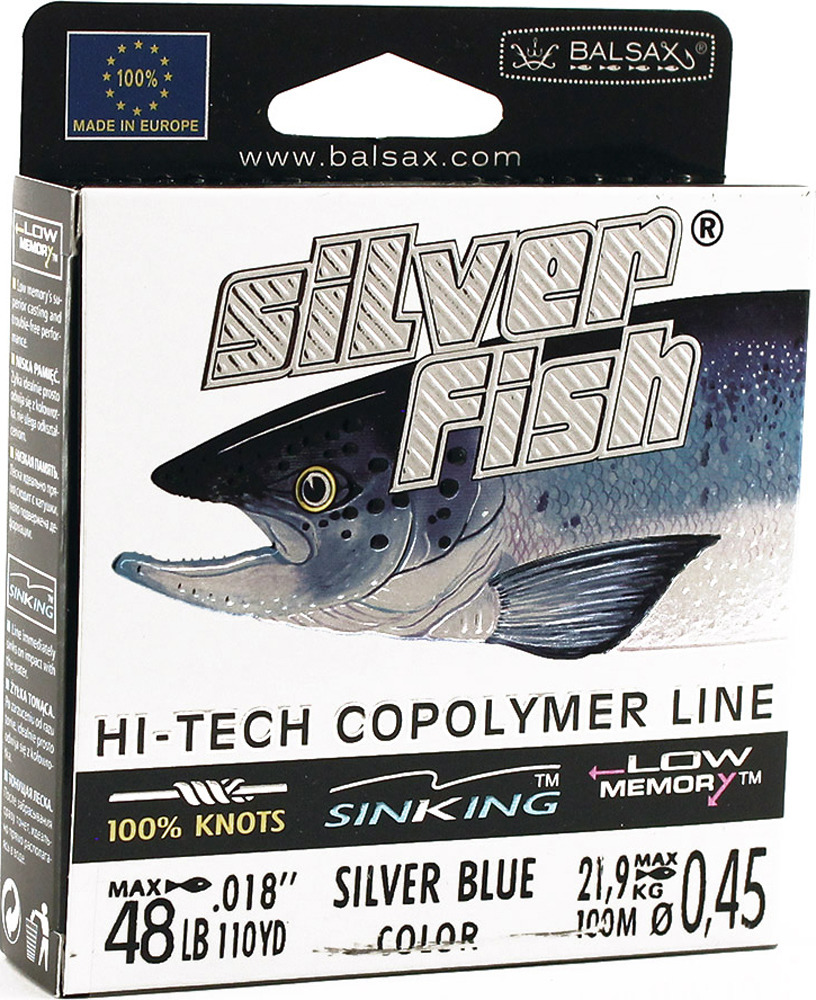 Леска Balsax Silver Fish, 100 м, 0,45 мм, 21,9 кг