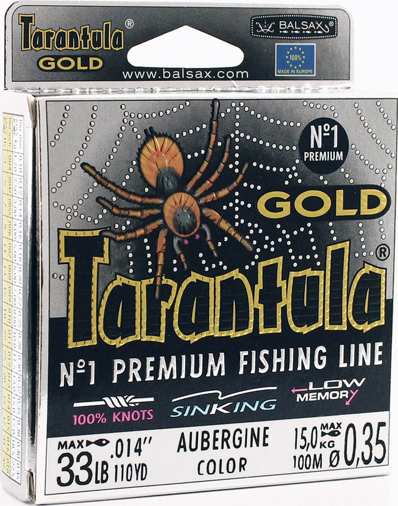 Леска Balsax Tarantula Gold, 100 м, 0,35 мм, 15,0 кг леска balsax tarantula 100 м 0 55 мм 29 7 кг