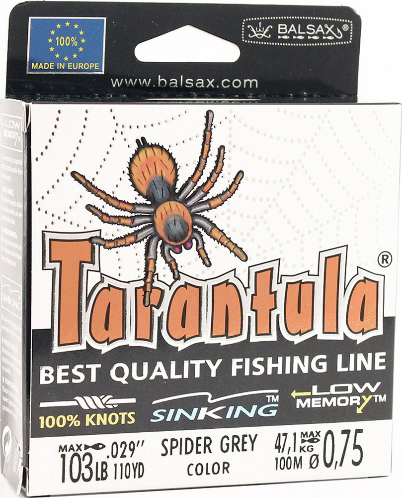 Леска Balsax Tarantula, 100 м, 0,75 мм, 47,1 кг леска balsax tarantula 100 м 0 55 мм 29 7 кг