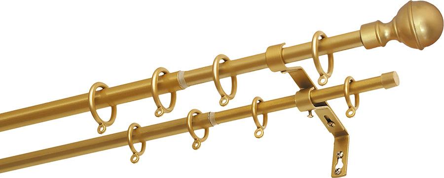 карниз двухрядный уют шар телескопический цвет черный длина 300 см Карниз двухрядный Уют Шар, телескопический, цвет: золотой, длина 210 см