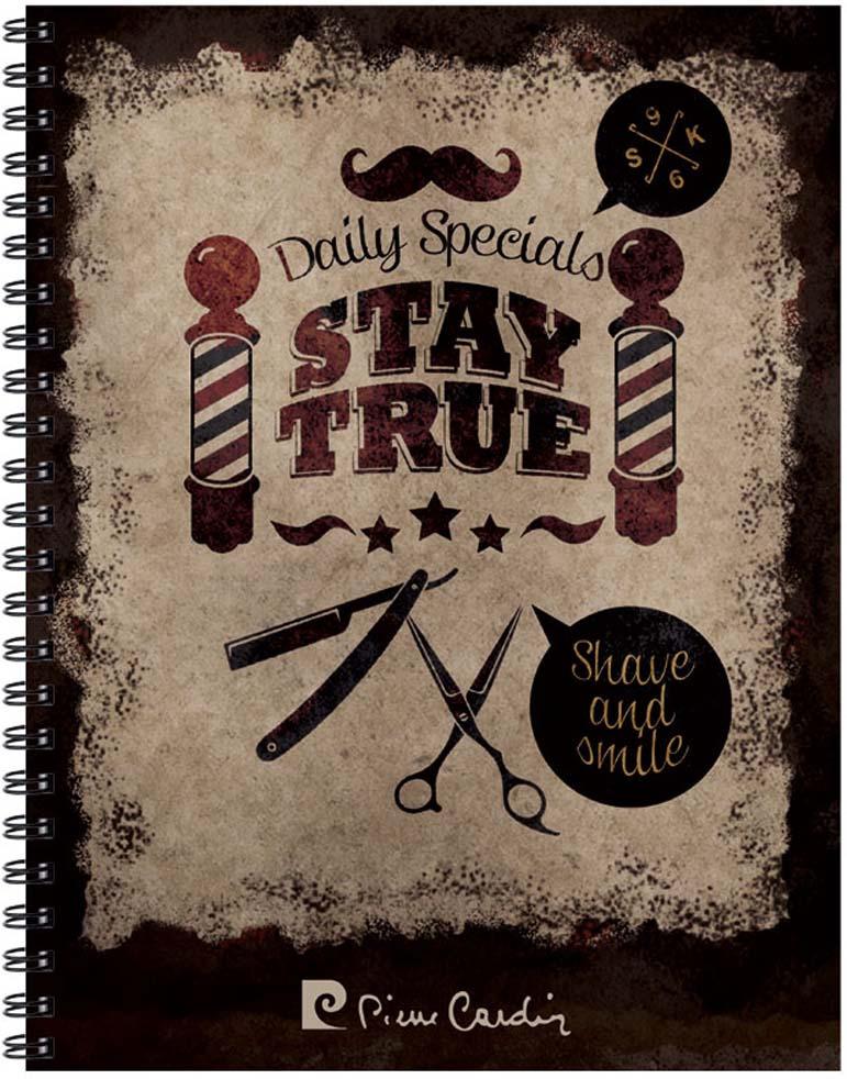 Тетрадь на гребне Pierre Cardin Stay True, цвет: коричневый, A5, 80 листов в клетку блокнот pierre cardin lois blanc цвет золотистый черный a5 80 листов в клетку