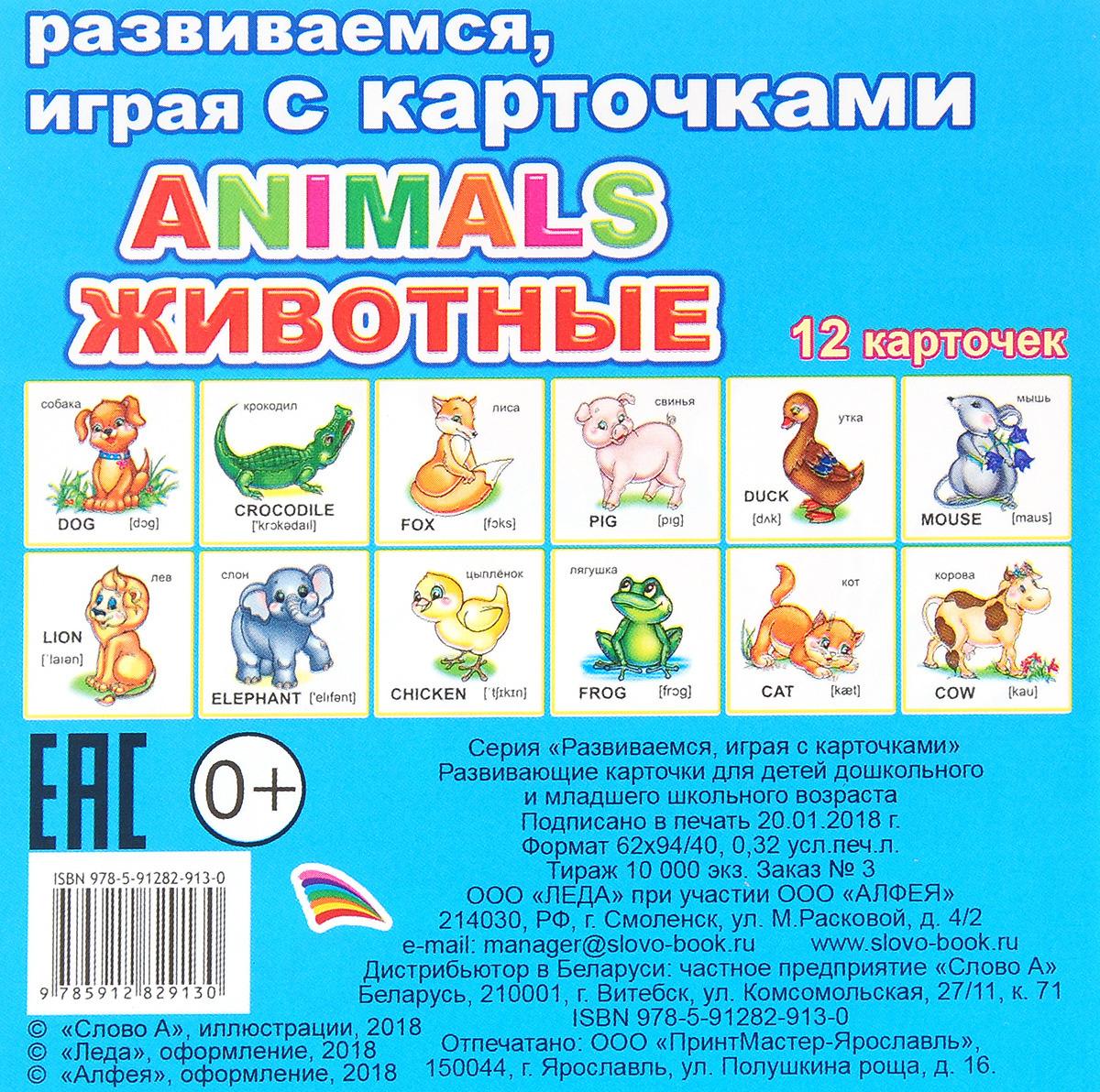Animals животные. Обучающие карточки