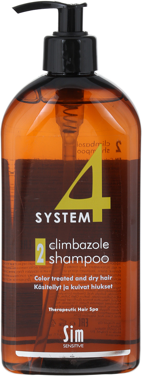 SIM SENSITIVE Терапевтический шампунь № 2 SYSTEM 4 Climbazole Shampoo 2, 500 мл5312КАК РАБОТАЕТ: салициловая кислота активно очищает кожу головы, предотвращая образование сухой перхоти, а климбазол и пироктон оламин восстанавливают микрофлору кожи головы. Гидролизованные протеины, гидролизованный коллаген, масло подсолнечника ухаживают за сухой кожей головы, поврежденными стержнями волос и продлевают стойкость цвета окрашенных волос. Розмарин и ментол обладают освежающим антибактериальным эффектом, улучшают микроциркуляцию крови. рН-4,7. БОРЕТСЯ С: сухостью кожи головы, зудом, раздражением кожи головы, сухой перхотью, cухостью, ломкостью волос, расслоением стержня волоса непослушностью и поврежденностью волос после окрашивания или химической обработки Рекомендуем!