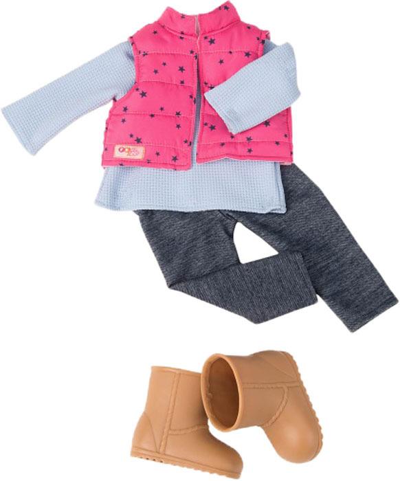 Комплект одежды для кукол Our Generation: жилетка, топ, штаны, сапоги