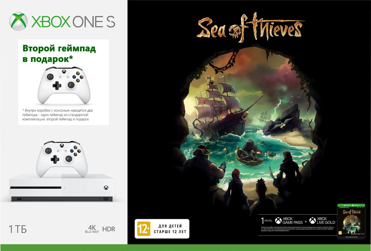 Игровая приставка Xbox One S 1 ТБ + Sea of Thieves + геймпад игровая консоль microsoft xbox one s 1 тб [234 00311] игра playerunknown s battlegrounds