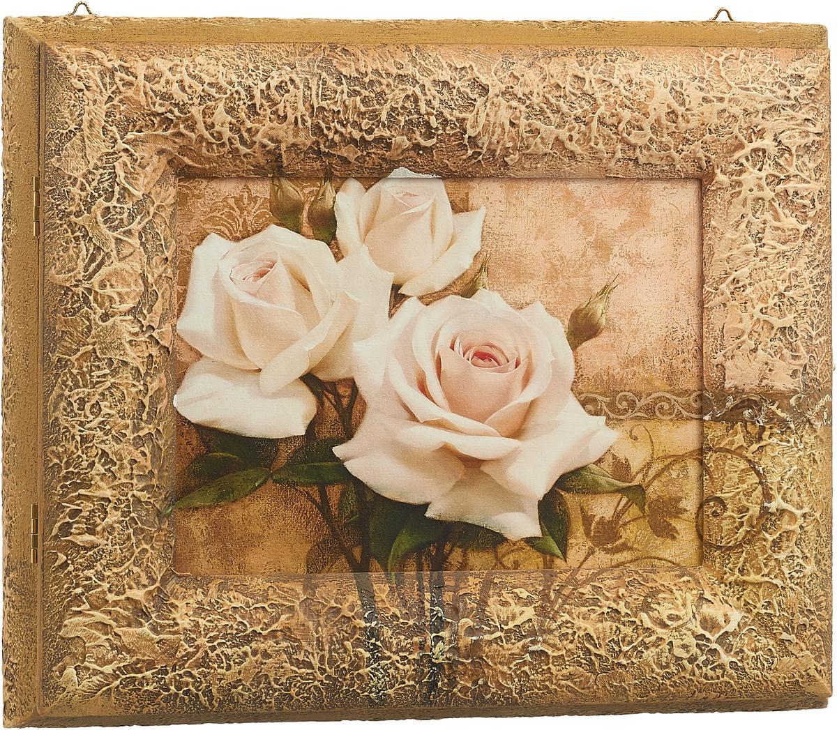 """Ключница настенная Dekart """"Белые розы"""", 27,5 х 25,5 х 6,5 см"""
