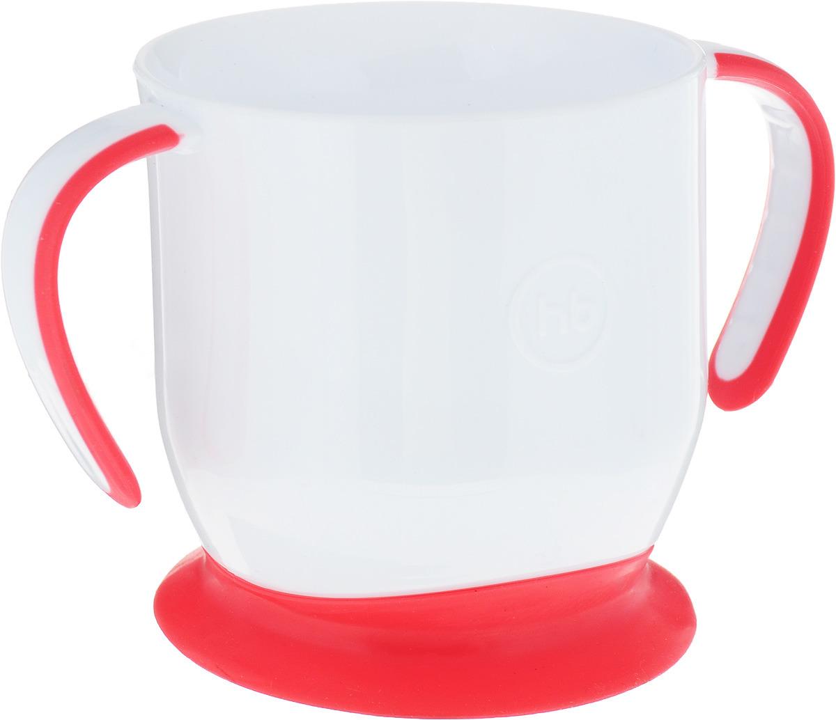 кружка на присоске happy baby baby cup with suction base 15022 red Happy Baby Кружка на присоске цвет белый коралловый