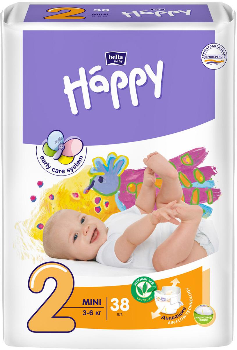 Подгузники Bella baby Happy, размер Mini 2 (3-6 кг), 38 шт цена