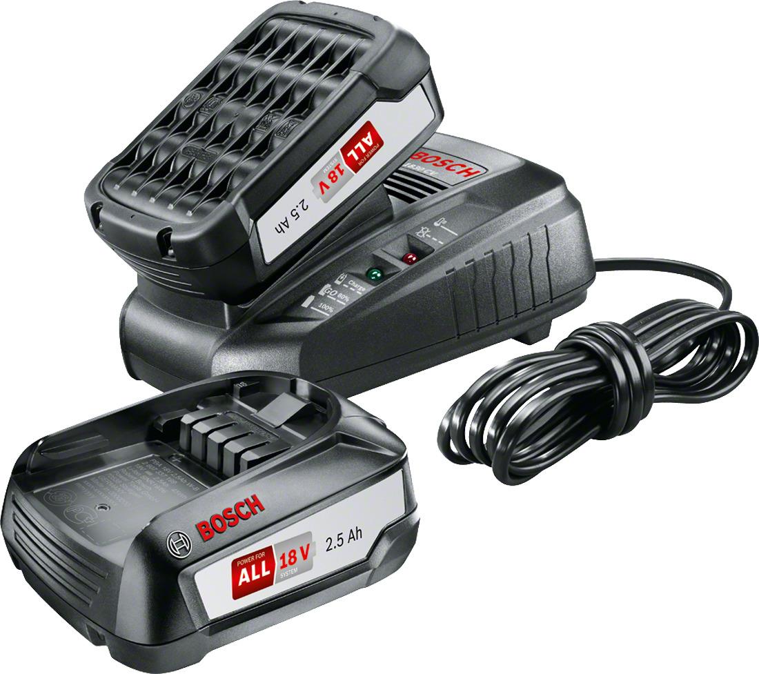 Стартовый набор аккумуляторов Bosch PBA 18В 2,5 Ач + AL18301600A011LDБазовый набор состоит из 2-х аккумуляторных блоков PBA 18В 2,5 Ач и компактного быстрозарядного устройства AL 1830 CV. Благодаря функции ReadyToGo аккумулятор будет заряжен до 80% уже через 40 минут, а до 100% - через 60 минут. Вес аккумулятора всего 400 грамм. Данные аккумуляторы подходят ко всем инструментам для домашних мастеров и садовой техники Power4All 18 В. Компактное быстрозарядное устройство не только на 20% быстрее аналогов, но и универсальный помощник: оно может гибко использоваться с любыми аккумуляторами 14,4В и 18В от компании Bosch (для зеленого и садового инструмента).