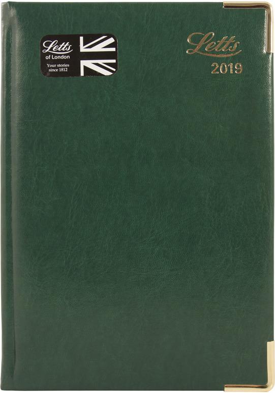 Ежедневник Letts Global Deluxe, датированный, цвет: зеленый, A5, 208 листов в линейку еженедельник датированный letts global deluxe ibiza a4 натуральная кожа 412127410
