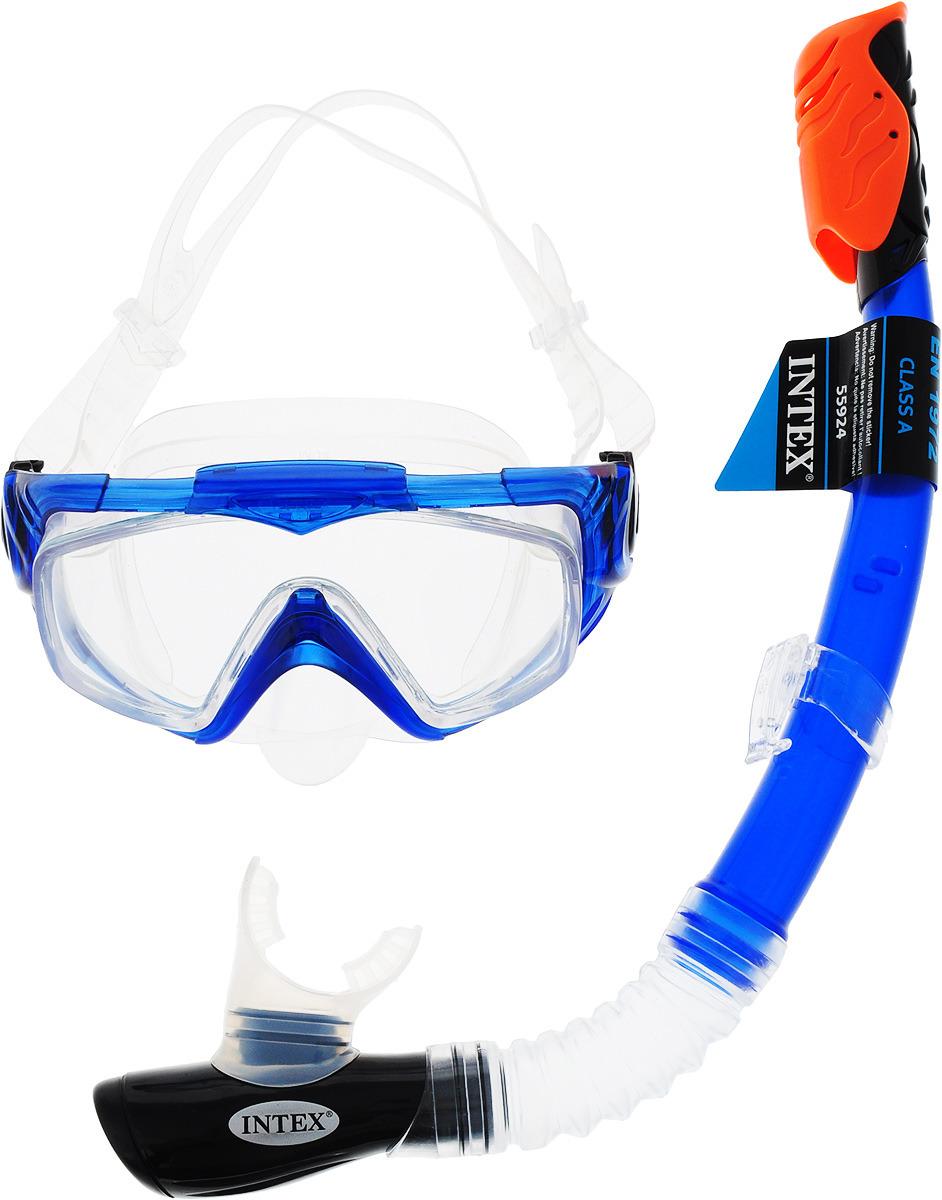 Набор для плавания Intex Аква, маска, трубка, цвет: синий