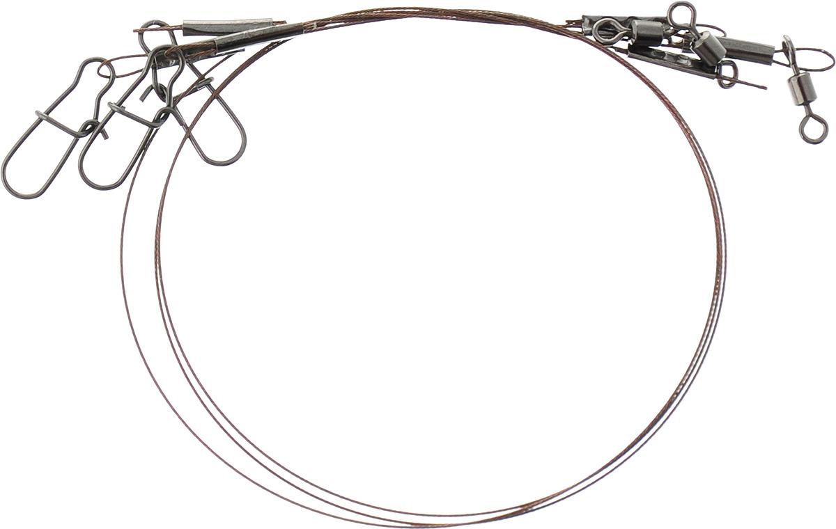 Поводок стальной APG, 1 х 7 нитей, диаметр 0,4 мм, длина 22 см, нагрузка 12 кг, 3 шт