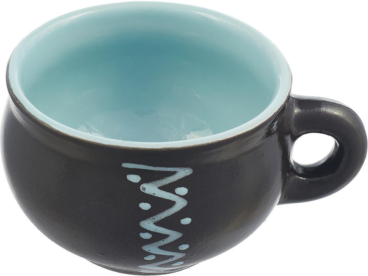 Чашка чайная Борисовская керамика Чугун, цвет: черный, голубой, 250 мл пиала борисовская керамика классика 250 мл мрм14458418