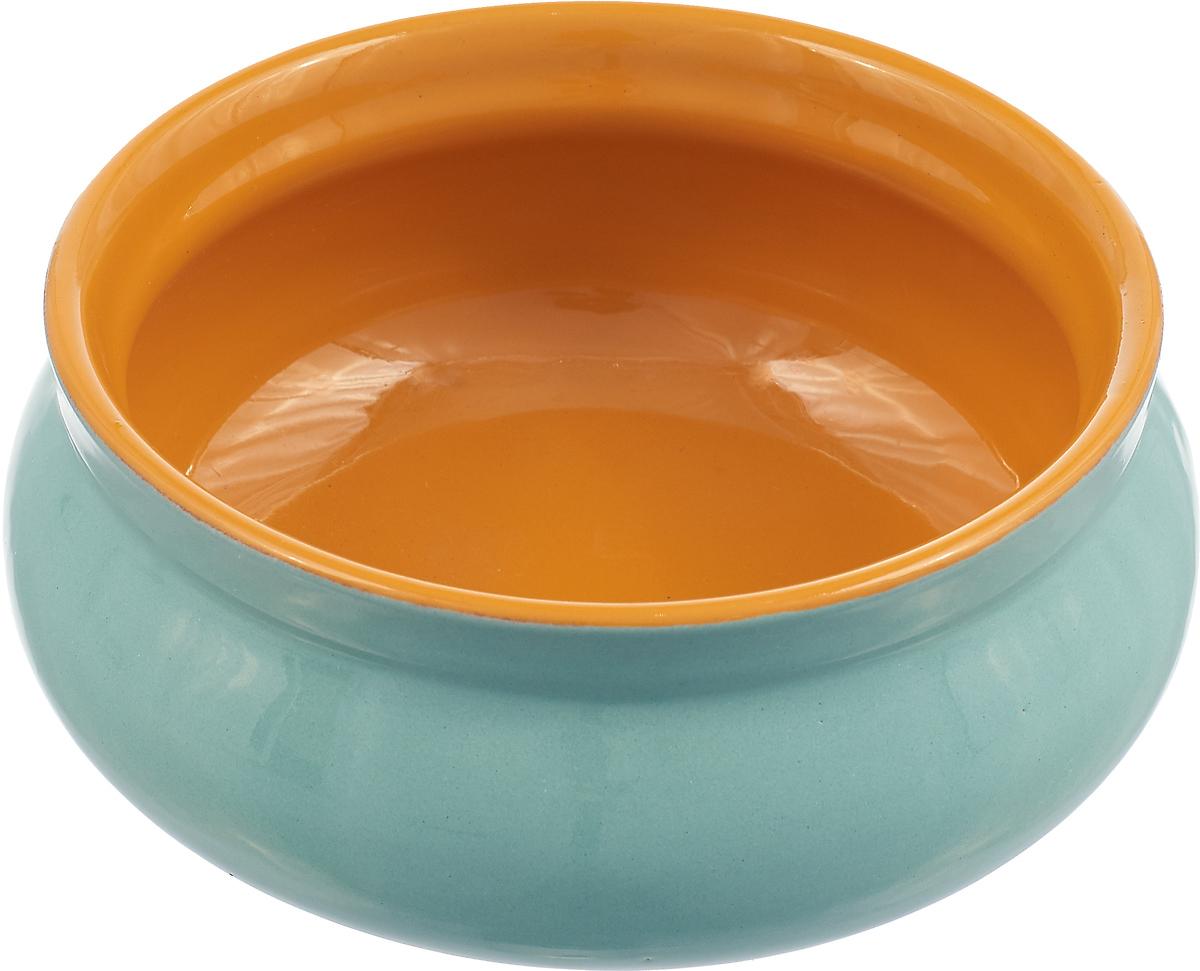 Тарелка Борисовская керамика Скифская, цвет: мятный, желтый, 300 мл тарелка борисовская керамика скифская 300 мл цвет темно желтый сиреневый