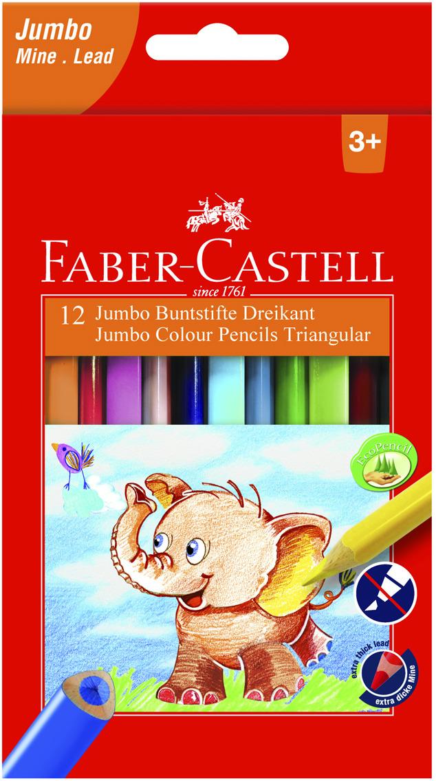 Набор цветных карандашей Faber-Castell Jumbo, трехгранные, 12 шт