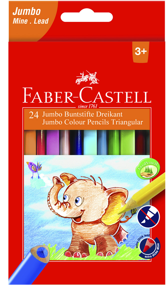 Набор цветных карандашей Faber-Castell Jumbo, трехгранные, 24 шт