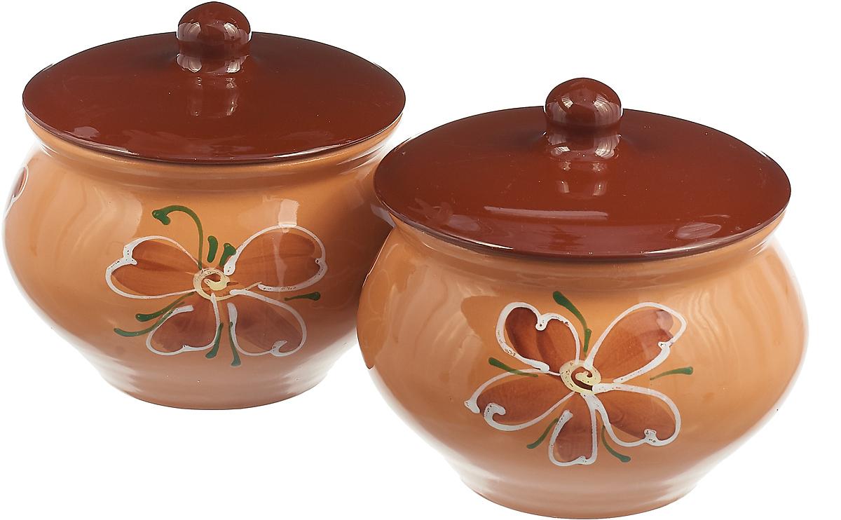 Набор горшочков для запекания Борисовская керамика Стандарт. Цветок, цвет: бежевый, 1,3 л, 2 шт набор горшочков для запекания борисовская керамика стандарт с крышками цвет сиреневый 500 мл 6 шт
