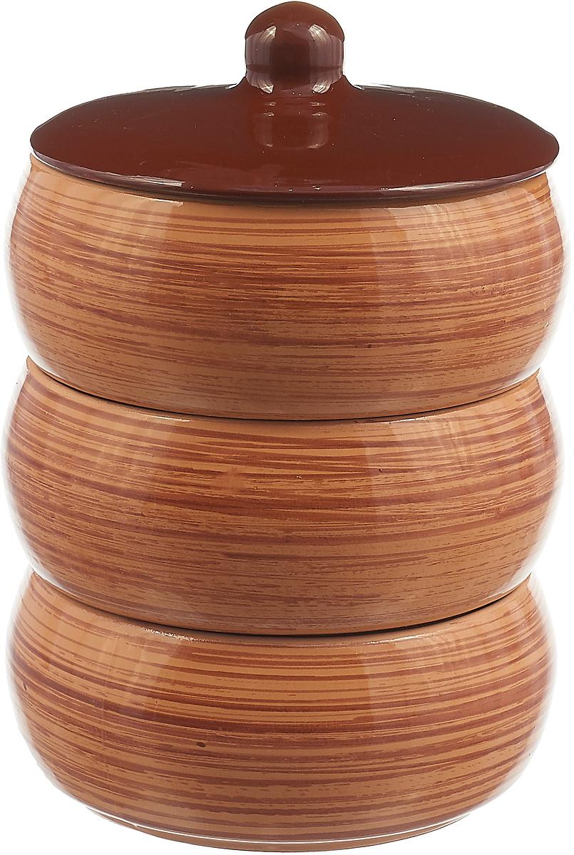 Набор столовой посуды Борисовская керамика Стандарт. Полоска, цвет: коричневый, 4 предмета, 2,7 л набор столовой посуды lsa dine цвет белый 4 предмета
