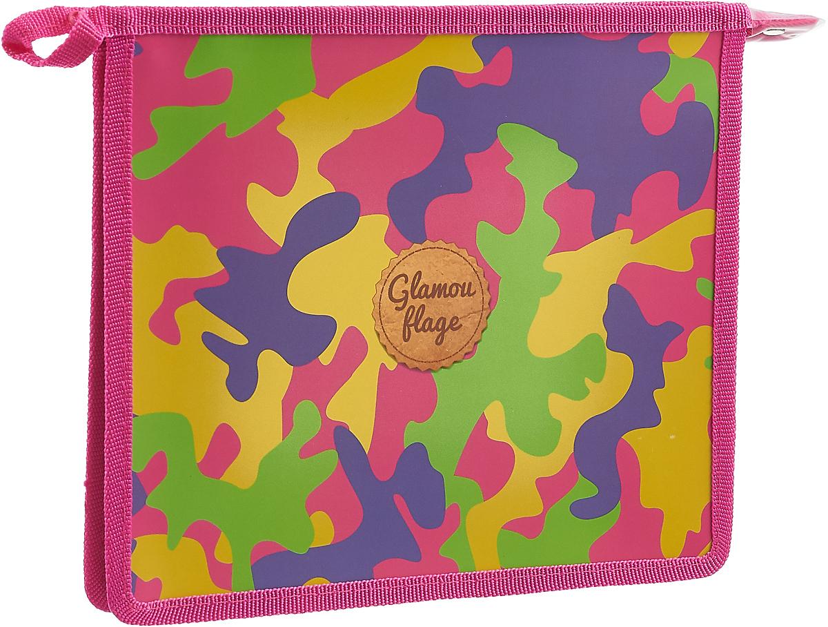 """Папка для тетрадей Феникс+ """"Цветной камуфляж"""", А5, цвет: розовый, фиолетовый, желтый, зеленый"""