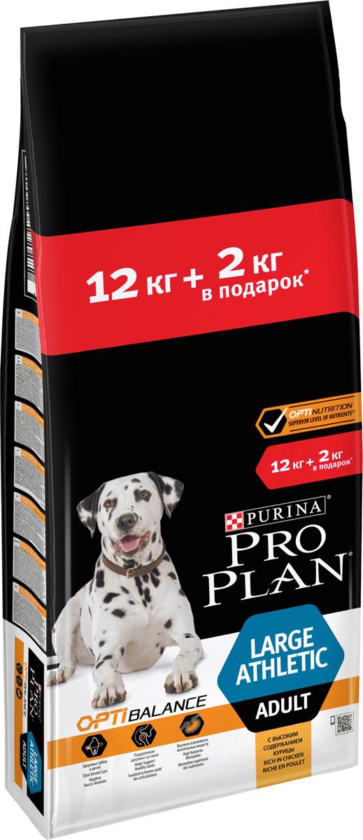 Корм сухой Pro Plan для взрослых собак крупных пород, с комплексом Optidigest, с курицей, 12 кг + 2 кг
