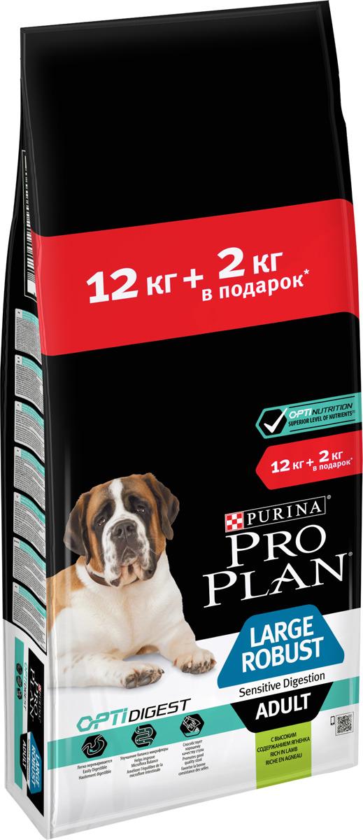 Корм сухой Pro Plan для взрослых собак крупных пород, с чувствительным пищеварением, с комплексом Optidigest, с ягненком и рисом, 12 кг + 2 кг корм сухой pro plan для взрослых собак средних пород с комплексом optidigest с курицей 12 кг 2 кг